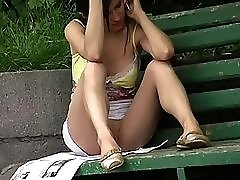 Oops voyeur upskirt on video with amateur brunette teen chatting on the phone