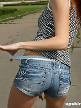 19 pictures - Babe unzips tiny tight jeans shorts and shows panties
