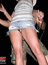 23 pictures - Naughty biker chick flashed her sexy upskirt. Drunk upskirt