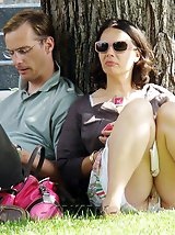 12 pictures - Sitting upskirts outdoors